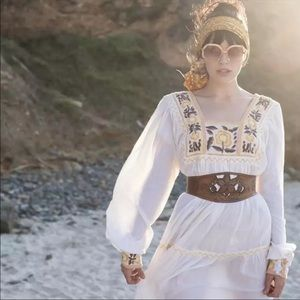 Dresses & Skirts - Boho Cotton Embroidered Daisy Floral Prairie Dress